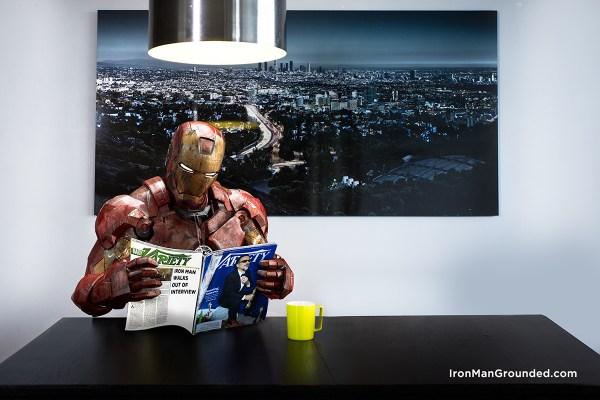Iron man Reading the Newspaper