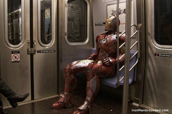 Iron man go to work with train