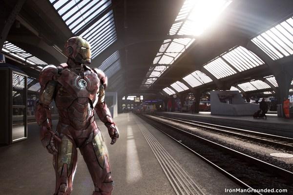 Iron man waiting train