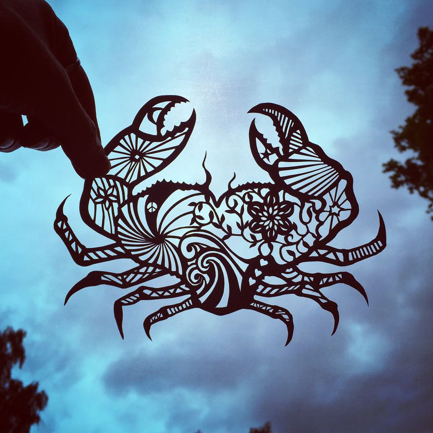 Gorgeous Paper Cut-Outs And Contrasts Them With The Sky Background