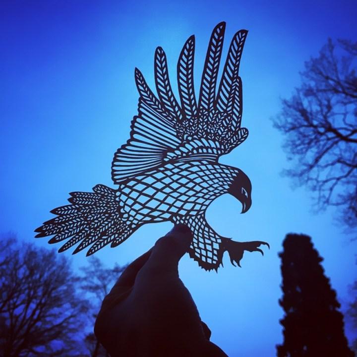 Eagle paper cut art by Jo Chorny