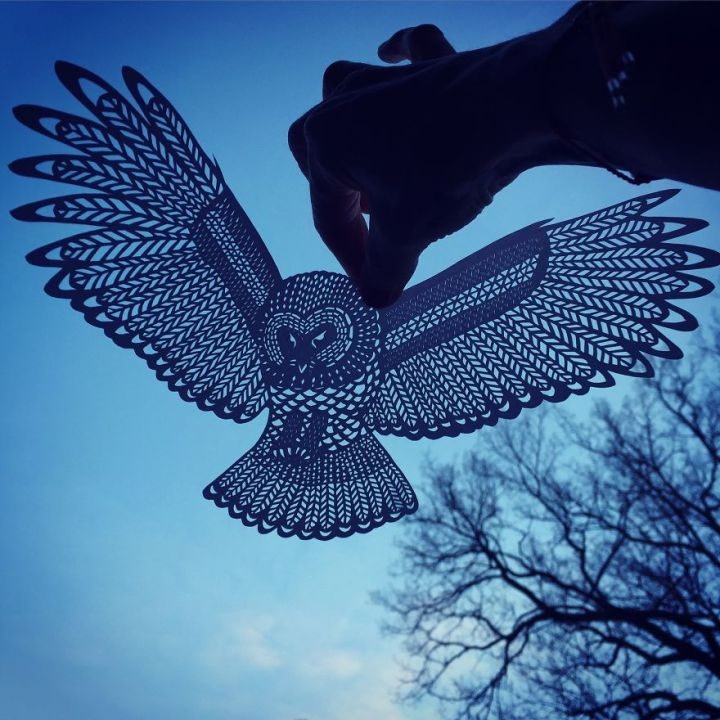 Handcut Paper owl by Jo Chorny