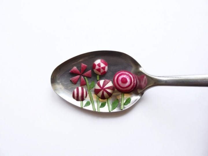 Miniature Masterpieces Created Using Food And Spoons by Ioana Vanc