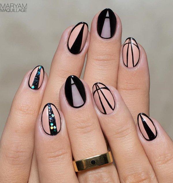 Nude color and black nail art Idea