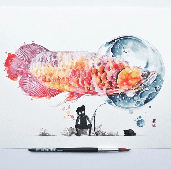Incredibel Gorgeous Watercolor Paintings by Luqman Reza Mulyono