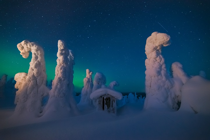 A cold ngiht on the top of this hill in Lapland, near the russian border wainting for the dancing light in the sky. All around, snow ghost are watching, standstill.