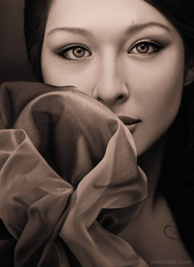 Beauty Hyper Realistic Oil Paintings by Christiane Vleugels