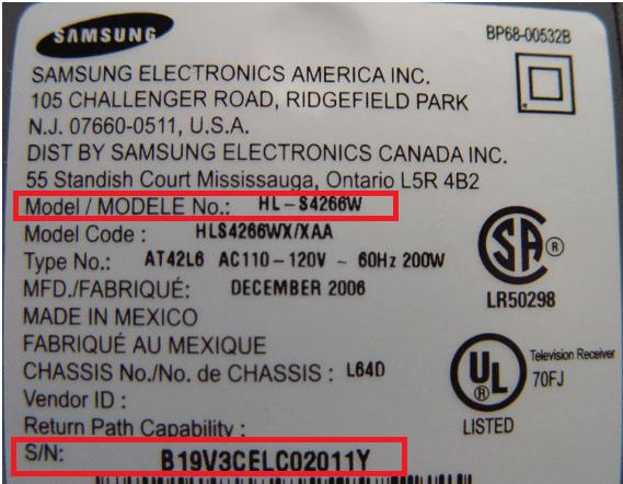samsung model number serial number