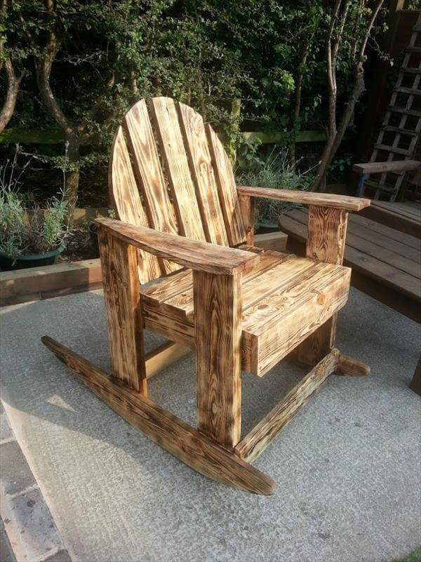 DIY Scorched Pallet Wood Rocking Chair