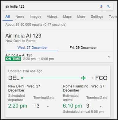 Google airline fligh status checker