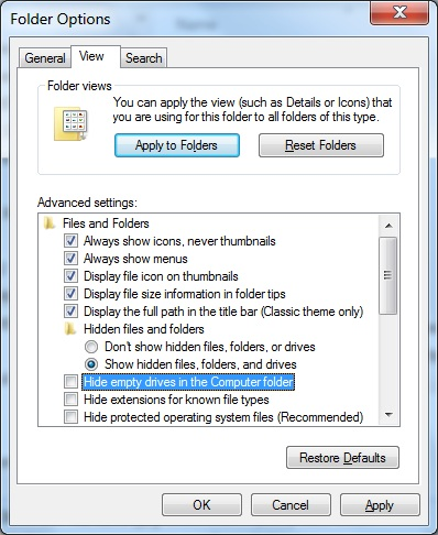 Win 7 - How to unhide hidden empty Drives