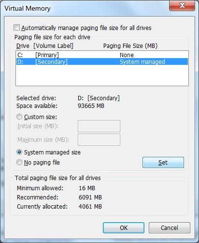 Win 7 - Improving Performance - Virtual Memory
