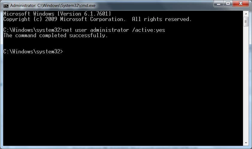 Win7 - How to enable Admin account