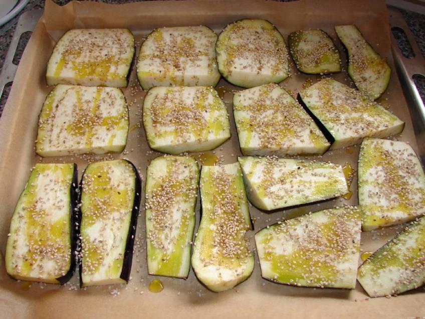 Zapečeni patliđani sa sezamom - priprema za pečenje