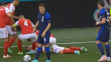"Photo of سقوط مرعب لنجم منتخب الدنمارك بمنافسات ""اليورو"" والحكم يؤجل المباراة"