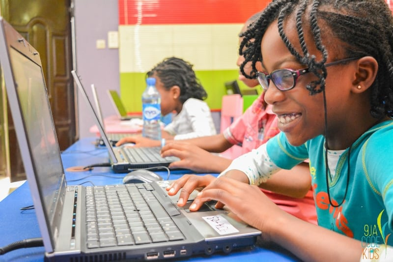African girl coding