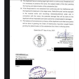 Bella Shmurda slammed with lawsuit for copyright infringement Court Document 2