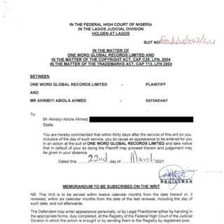 Bella Shmurda slammed with lawsuit for copyright infringement Court Document 3