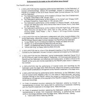 Bella Shmurda slammed with lawsuit for copyright infringement Court Document 4