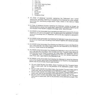 Bella Shmurda slammed with lawsuit for copyright infringement Court Document 5