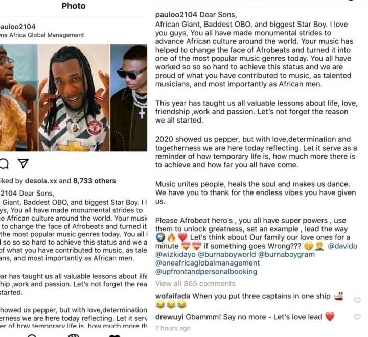 Paul Okoye [Rudeboy] Advice to Davido, Burna Boy and Wizkid