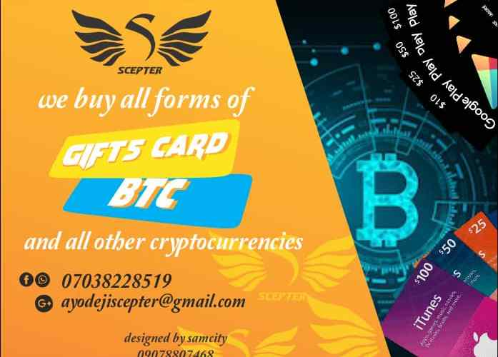 We Buy All Forms Of Gifts Card, BTC & Other Cryptocurrencies
