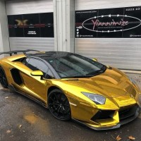 Gold rush! Arsenal star Aubameyang has plush his Lamborghini re-wrapped