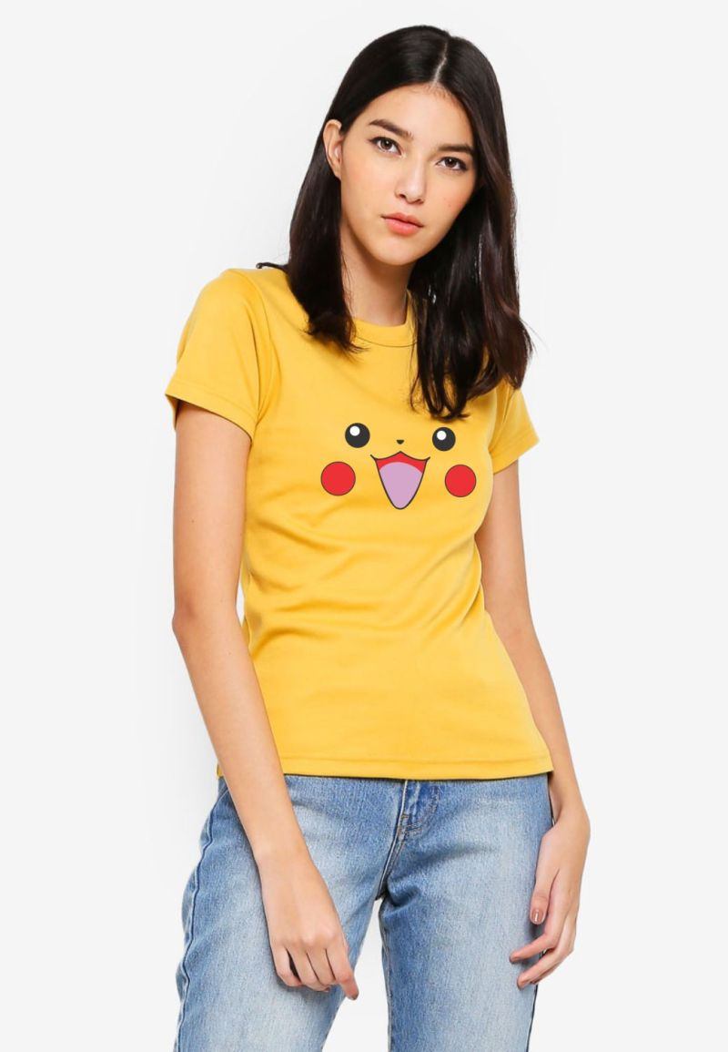 buy happy pikachu ladies tshirt only on 9tails apparels