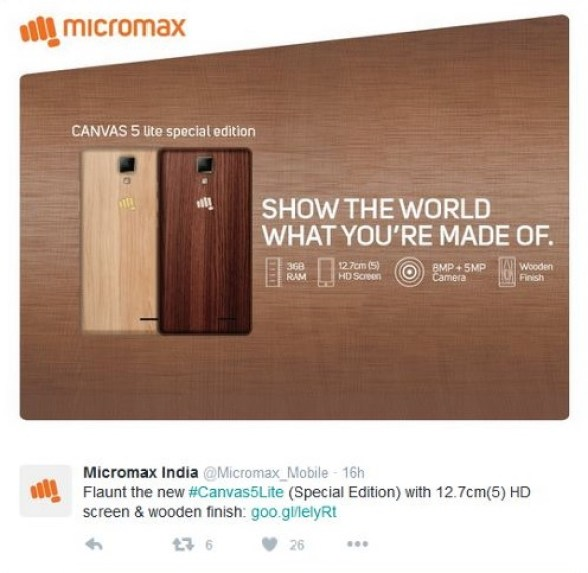 micromax-canvas-5-lite-3gb-ram-wooden-panel-launch-featured