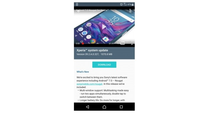 Sony Xperia XZ starts receiving Android 7 0 Nougat update