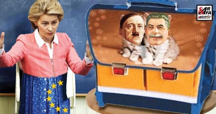 Je to tady: Hitler a Stalin byli kamarádi do deště! České ministerstvo školství pod tlakem Německa a EU již koná kroky ke změnám učebnic dějepisu. Železná Uršula buduje armádu