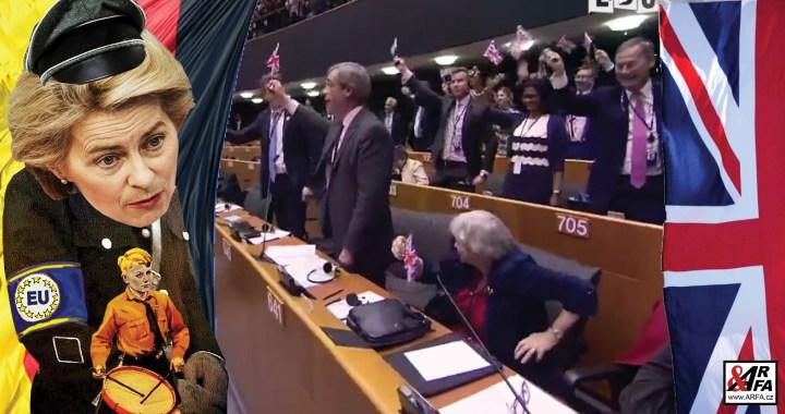 """Mrazivá arogance Eropské unie k odcházející Velké Británii: """"Ty vlajky si vemte s sebou!"""" Skvostný projev Nigela Farage na rozloučenou s projektem Čtvrté říše. VIDEO s titulky. Vypnutý mikrofon a odpudivá slova o nenávisti. Urválek v sukních?"""