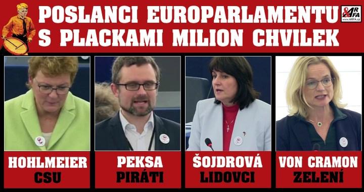 """Foto jako důkaz: Placky Milion chvilek v Evropském parlamentu. Nejen """"nezávislá"""" paní Hohlmeierová a """"udavač"""" Peksa, ale i další! Tři lži paní Hohlmeierové. Jsou Piráti německá strana?"""