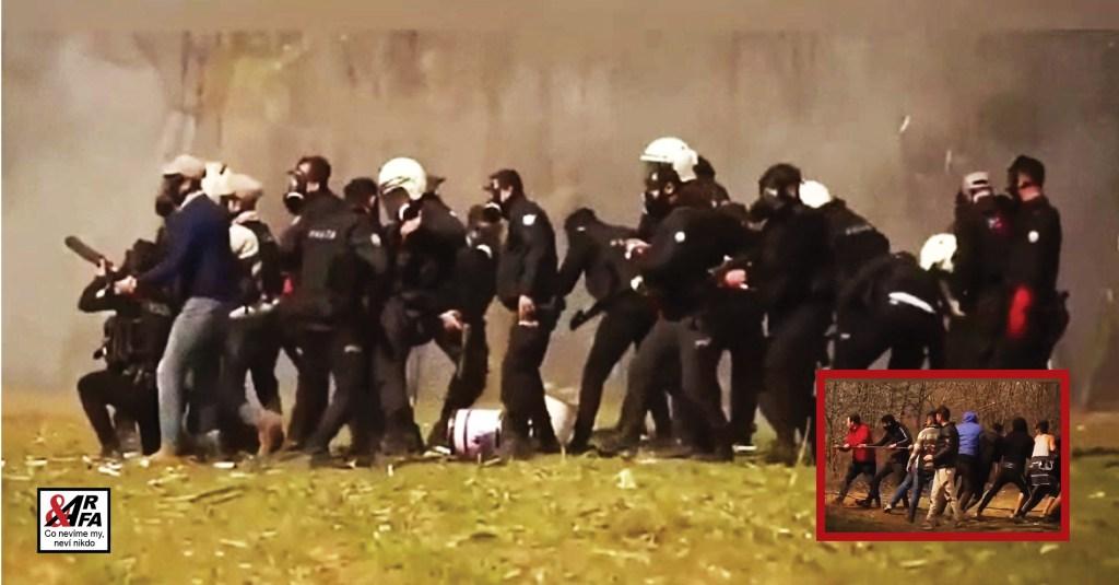 Jasný důkaz: Turci bojují s migranty bok po boku. Strhávají ploty, střílejí granáty se slzným plynem. Stateční Řekové bojují o Evropu proti všem