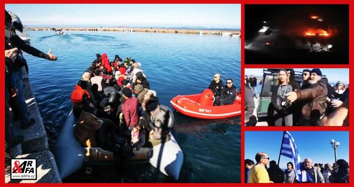 """Zoufalí Řekové brání migrantům ve vylodění na ostrově Lesbos. VIDEO. Migrantská ubytovna v plamenech. Občanské nepokoje. """"Běžte domů!"""" volají místní na přeplněné čluny."""