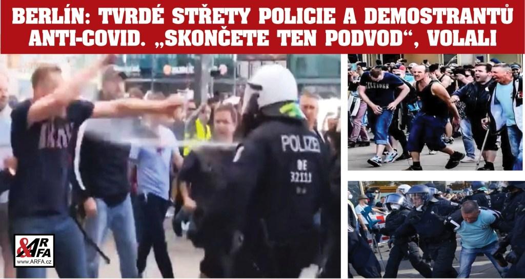 """Německo v chaosu: Násilné nepokoje proti omezením COVID-19 vypukly v několika městech. VIDEO. """"Přestaňte nám lhát!"""" """"Koronavirus je podvod!"""" byla hesla davu. Policie použila pepřové spreje a odvlékala demonstranty v poutech"""