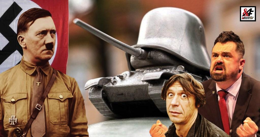 """Pomník Esesákům v Řeporyjích: helma Wehrmachtu, pod ní tank osvoboditelů. Zachránil Prahu Hitler? """"Je to zrůdné. Jednou to budeme svážet do sběru,"""" říká Stanislav Novotný, bývalý policejní prezident"""