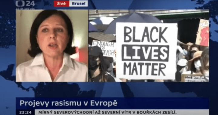 """Neuvěřitelné: Jourová v České televizi zve Black Lives Matter do České republiky? """"Rasismus je na vzestupu."""" Krátce poté byla poničena socha Churchilla na Žižkově"""