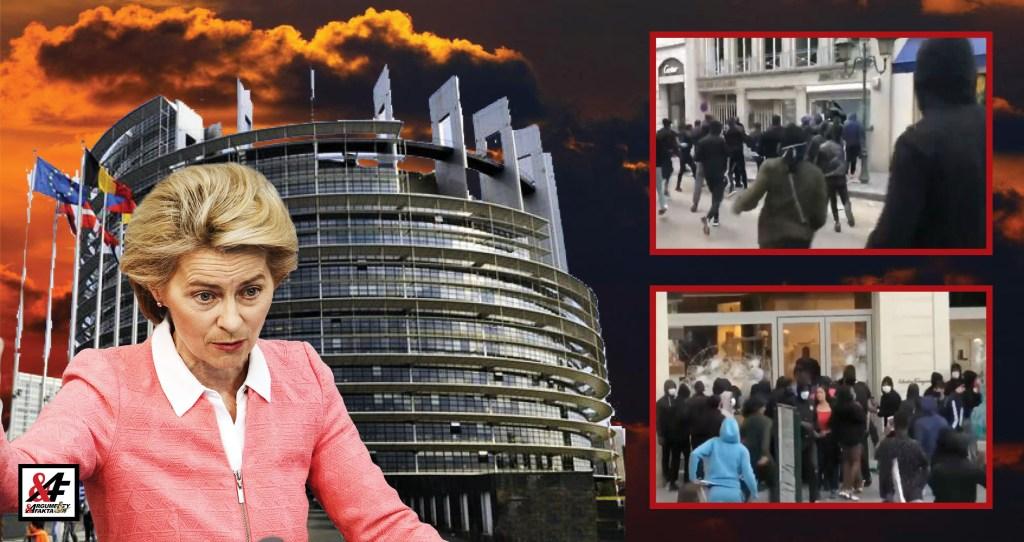 Děsivé: Dav radikálů rabuje luxusní obchody v Bruselu před parlamentem Evropské unie. 5 x VIDEO. Mladí muži v černých kapucích: Migranti, nebo ANTIFA? Střelba a vodní děla. Evropa na prahu války?