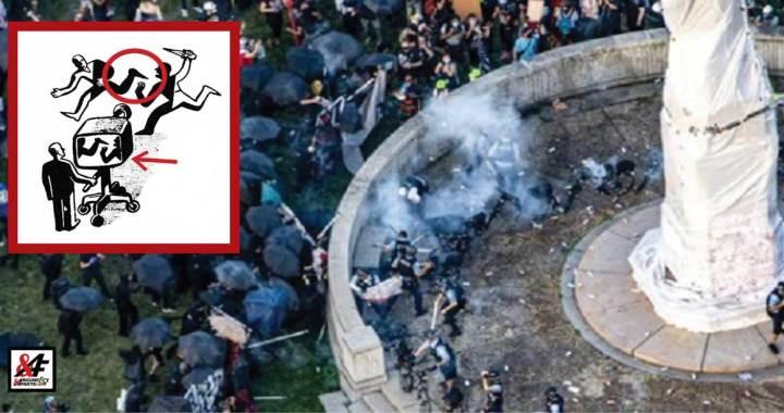"""Křivé zrcadlo CNN: Šílený dav Black Lives Matter brutálně utočí na policisty kameny a lahvemi se zmrzlou vodou, desítky raněných při obraně sochy Kryštofa Kolumba. Televize CNN: """"Policista vyrazil aktivistce zuby""""."""