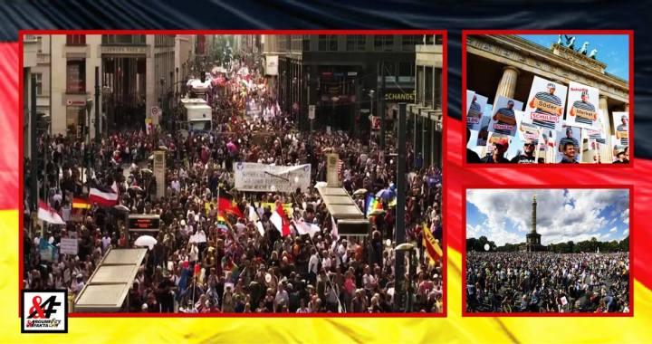 """Masivní demonstrace v Berlíně proti """"podvodu jménem koronavirus"""". Nacistické symboly vedle duhových vlajek. Útok na Říšský sněm. Statisíce demonstrantů, 200 zatčených, desítky zraněných policistů."""