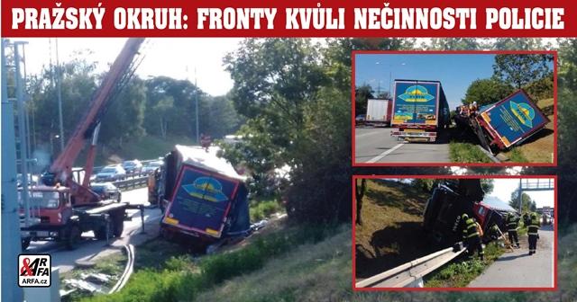 To snad ne! Řidič havarovaného kamiónu chtěl odstranit vrak svépomocí! Výsledek: Rekordní fronty na Pražském okruhu a zkažený den tisíců motoristů. Proč policie selhala?