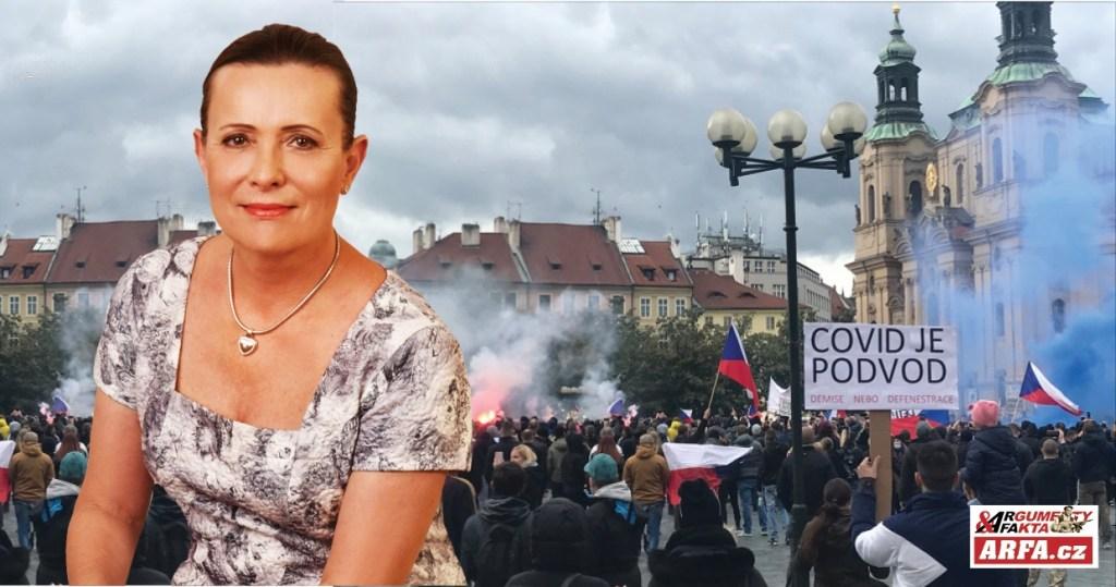 """Alena Vitásková: """"Nejsme jako oni! Už zase mlátí naše děti, podvádějí a lžou… Ministr vnitra musí nést plnou odpovědnost za zásah proti anti – covid demonstrantů. Média lžou a straší…"""""""
