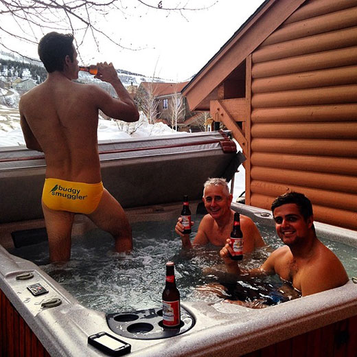 Beer and Speedo in the Hottub