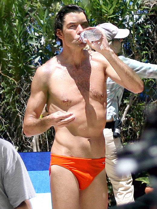 Jerry O'Connell wearing a red speedo