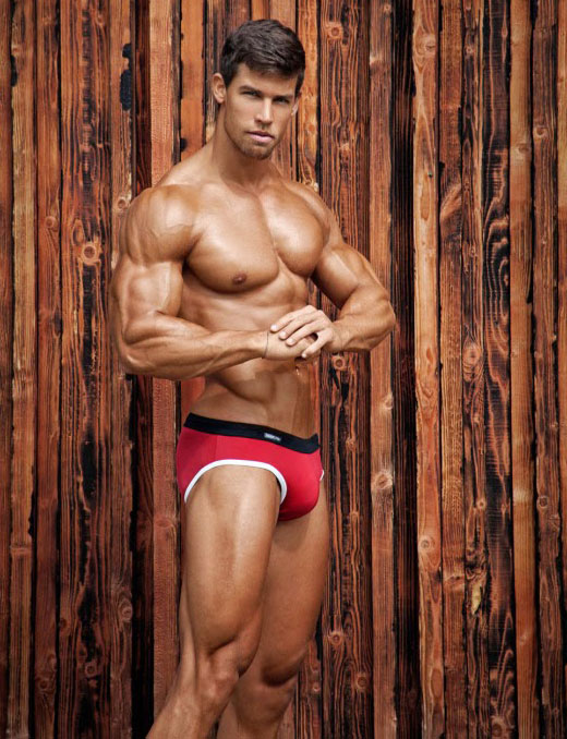 Muscles in Red Speedo