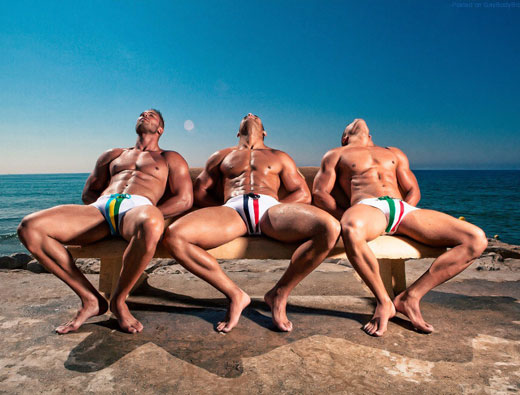 Three Guys in White Speedos
