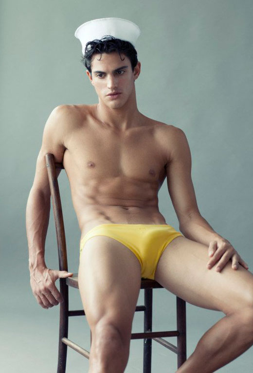 Erection in Yellow Speedo