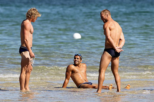 Australian Football Players in Speedos