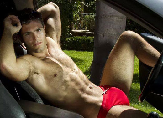 Driving in Red Speedos